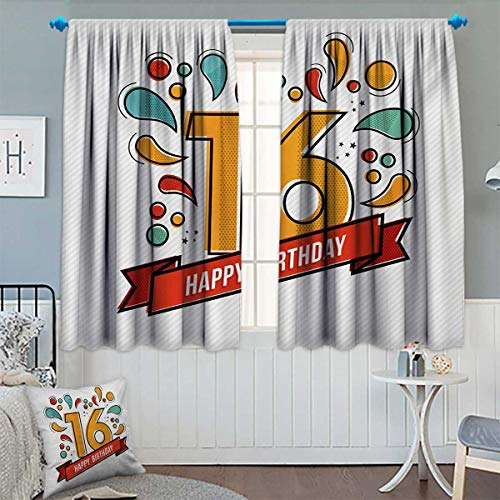 Chaneyhouse 16th Birthday Blackout Window Curtain Festive New Age Modern Party Invitation Funky Teenage Typography Artwork Customized Curtains 72