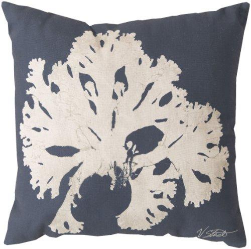 Surya RG054-1818 Indoor/Outdoor Pillow, 18-Inch by 18-Inch, Navy/Beige