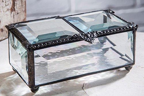J Devlin Box 676 Clear Beveled Glass Box Double Hinged Lid Keepsake Jewelry Trinket (Glass Box Treasure)