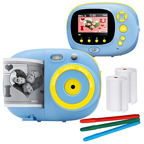 Sunny & Fun Crafty Cam   Best Gift for Boys Girls   Kids Instant Print Camera & Video Camcorder Bundle with 2.4″ HD Screen, Selfie Mirror, Filters for Hours of Fun & Crafts – Blue