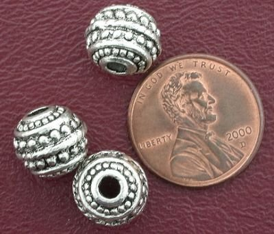 3 10mm ORNATE ROUND BALI PEWTER BEADS