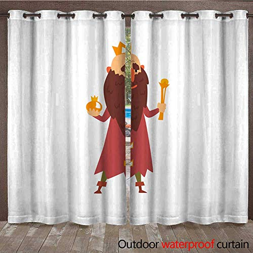 Home Patio Outdoor Curtain Funny Bald King Character with Golden Scepter in his Hand Cartoon Vector Illustration on a White Background W96 x L108 -