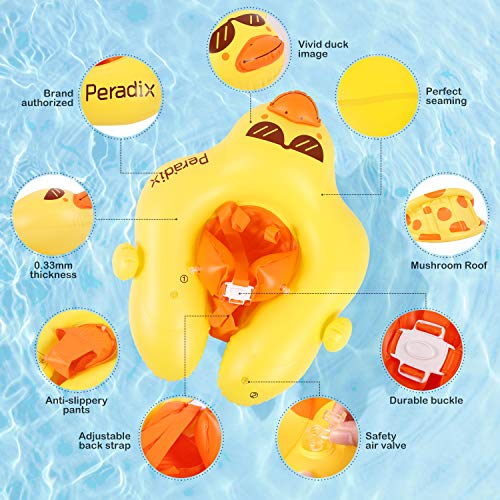 Peradix Baby Pool Inflatable Floats, Swiming Ring With Adjustable Sunshade/Waist Swim Boat Seat, Unique design Floats for 6-30 month Baby/Toddler/Kids- (Duck-with Repair Patch)