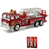 Toysery Fire Engine Truck Kids Toyl Kids Toy with Extending Ladder & Lights & Siren Sounds Vocal Phrases Bump & Go Action