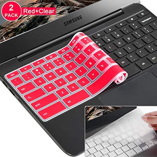 [2 Pack]Samsung chromebook 3 keyboard cover skin for Samsung Chromebook 11.6 Chromebook 2 XE500C12, Samsung Chromebook 3 XE500C13,Samsung Chromebook Plus V2 2-in-1 XE520QAB 12.2(Clear and red)