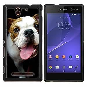 YiPhone /// Prima de resorte delgada de la cubierta del caso de Shell Armor - Bulldog Terrier Hocico Lengua Negro - Sony Xperia C3