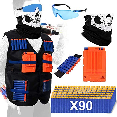 Elite Tactical Vest - POKONBOY Tactical Vest Kits Compatible with Nerf Gun, 1 Pack N-Strike Elite Tactical Vest Jacket with 1 Wrist Band, 1 Quick Reload Clips, 1 Protective Glasses, 1 Face Mask and 90 Bullets for Kids Fun