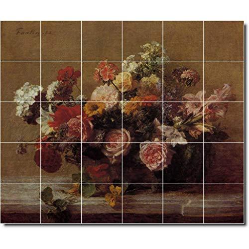 Painting Fantin Latour - Ceramic Tile Mural-Henri Fantin-Latour Flowers Painting 110. 36