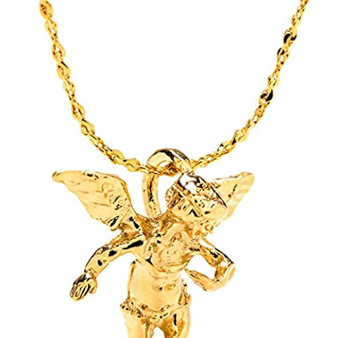 Guardian Angel, Pendant Necklace, Large, 24K Gold Premium Overlay Fashion Jewelry GUARANTEED FOR LIFE, 18 Inch Chain