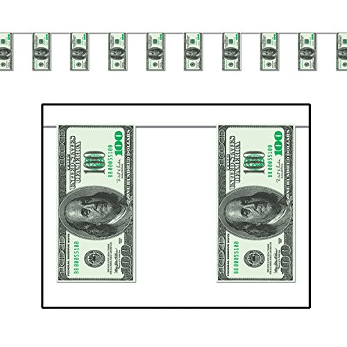 $100 Bill Pennant Banner Party Accessory (Value 3-Pack) by Beistle