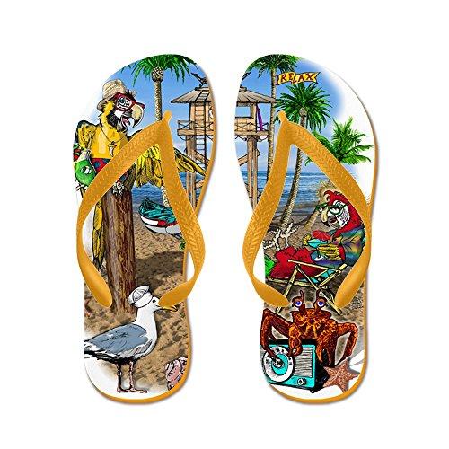 Cafepress Parrot Beach Shack - Chanclas, Sandalias Thong Divertidas, Sandalias De Playa Naranja