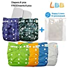 LBB(TM) Baby Resuable Washable Cloth Pocket Diaper With Adjustable Snap,6 pcs+ 6 inserts,Jeans