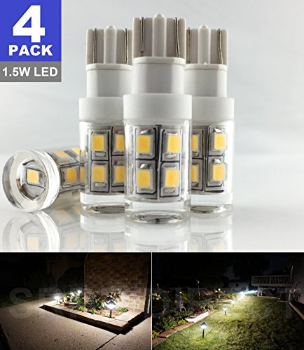 - SRRB Direct 1.5W LED Replacement Landscape Pathway Light Bulb 12V AC/DC Wedge Base T5 T10 for Malibu Paradise Moonrays and More (4 Pack, Warm White)