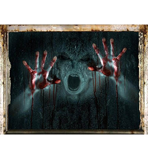 NXDA Halloween Wall Sticker, Scary 3D Illusion Ghost Decal for Household Decorations, 60cmX45cm (H)