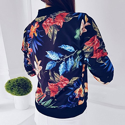 Longues Col Loose Jacket Printing Bleu Fashion Outwear Manches Ladies Tops DEELIN Femmes Floral Zipper Rond xzXqI7Xg