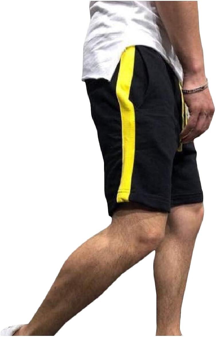 Zimaes-Men Muscle Jogging Color Block Sports Drawstring Waist Casual Shorts