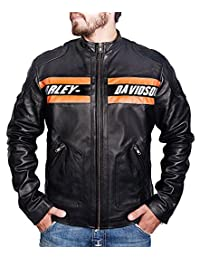 Bill Goldberg WWE Harley Davidson Motorcycle Vintage Biker Real Leather Jacket (XL, Black)
