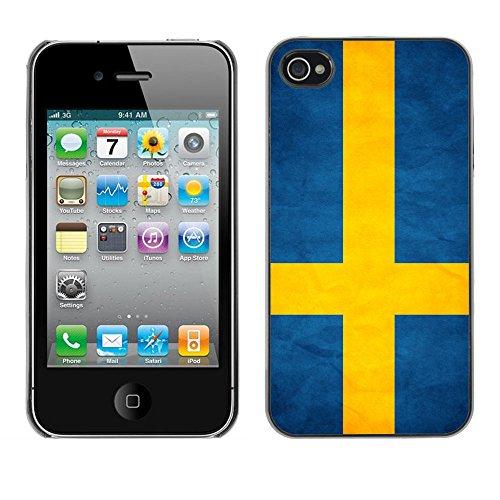 Omega Case PC Polycarbonate Cas Coque Drapeau - Apple iPhone 4 / 4S ( Sweden Grunge Flag )