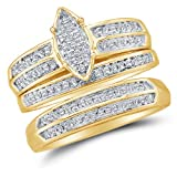 Sizes - L = 9.5, M = 11.5 - 10K Yellow Two Tone Gold Round Diamond Trio Three Ring Set - Matching His and Hers Engagement Ring & Wedding Bands - Micro Pave Marquise Center Setting Shape (.28 cttw.) - Please use drop down menu to select your desired ring s