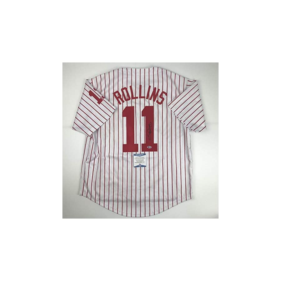 Autographed/Signed Jimmy Rollins Philadelphia Pinstripe Baseball Jersey Beckett BAS COA