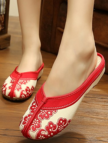 Embroidered Red Clogs Icegrey Slipper Women's Handmade wPqEWgUY