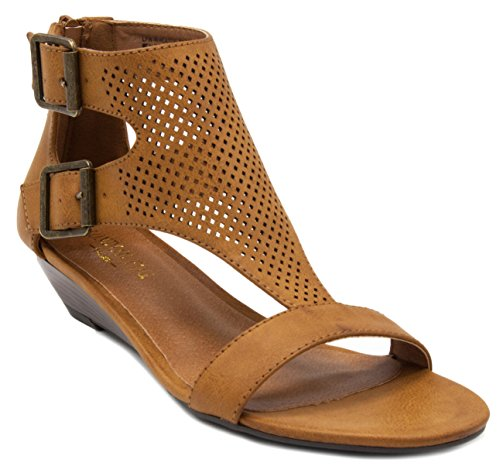 London Fog Women's Wheaton Demi Wedge Sandal Cognac perfs 7.5 M US