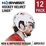 No Sweat Hockey Helmet Liner -- Moisture Wicking Sweatband Absorbs Dripping Sweat | Helps Prevent Acne, Reduces Fogging / Anti-Fog - (Hockey Players / Officials and Referee) (12 Pack)