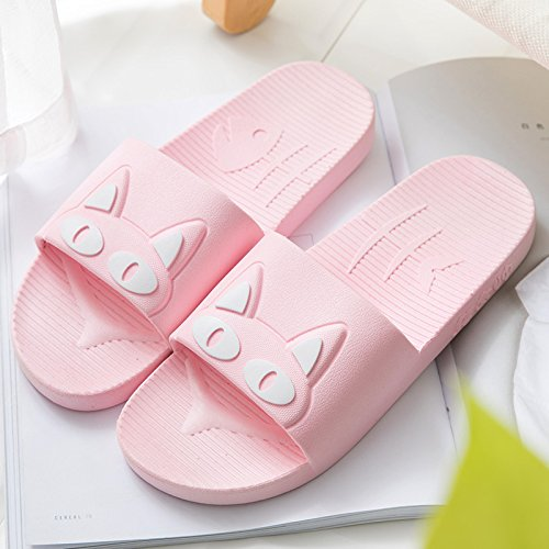 fankou Slippers Women Indoor Summer Anti-Slip Home with Lovely Cartoon Couples Home Bath Bathroom Cool Slippers Male Summer,39-40, Pink White Cat