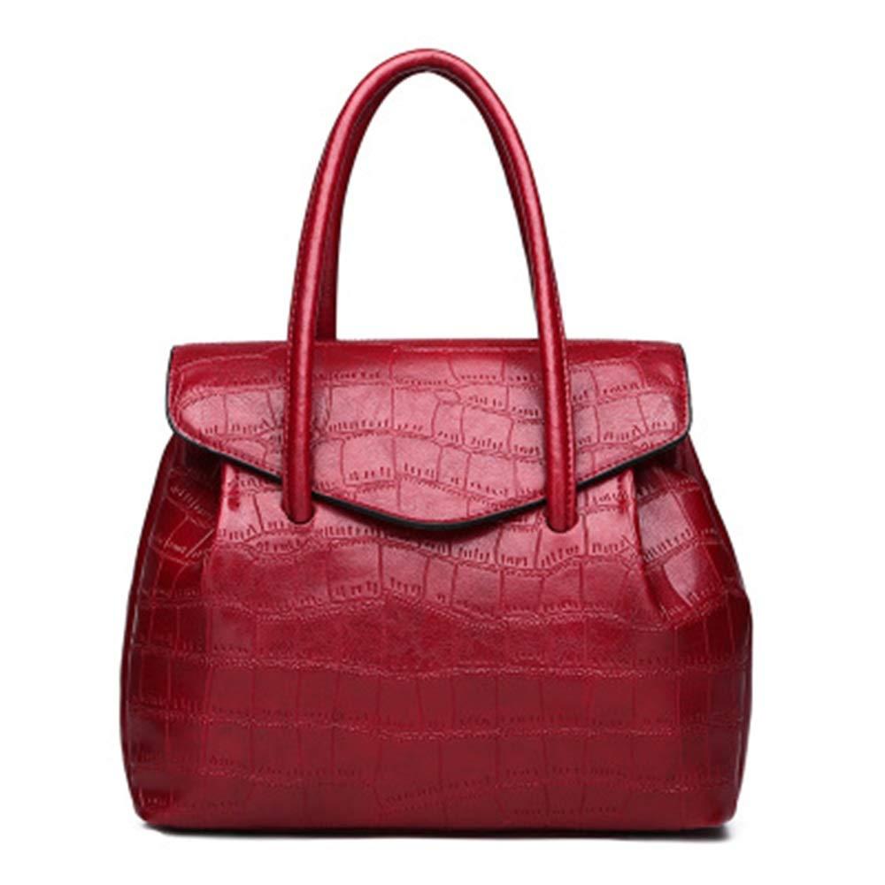 LTQ 2wayハンドバッグ合成レザーレディースアリゲータースキンパターン印刷ファッション通勤フルトリコロール (Color : Red wine, Size : L) B07PYG9QTX