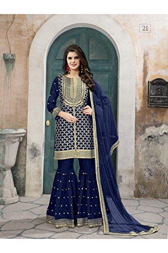 Da Facioun Indian Women Designer Partywear Ethnic Traditonal Salwar Kameez. Da Facioun Donne Indiane Progettista Partywear Etnica Traditonal Salwar Kameez. Blue 3 Blu 3