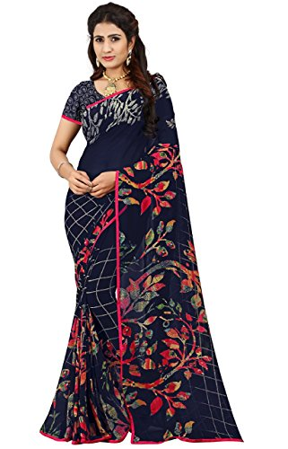 Women's Faux Georgette Floral Print Saree Blue 6.30 m With Blouse Piece by Kalaa Varsha - Blue Floral Georgette