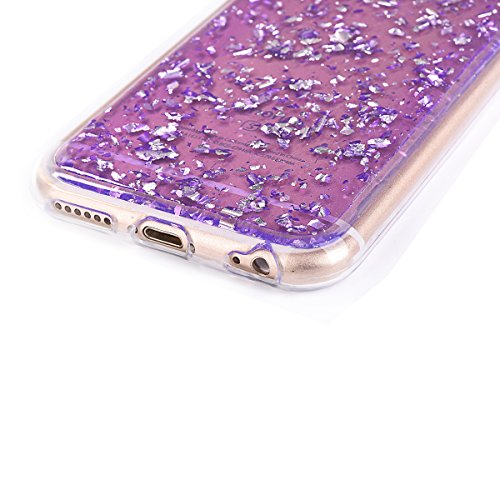 Funda iPhone 7, iPhone 8 Silicona Funda, PLECUPE Moda Bling Brillante Shiny Papel de oro Soft Transparent Carcasa Case, Suave Flexible Ultra Delgado Transparente Clear TPU Rubber Gel Resistente a los  Púrpura