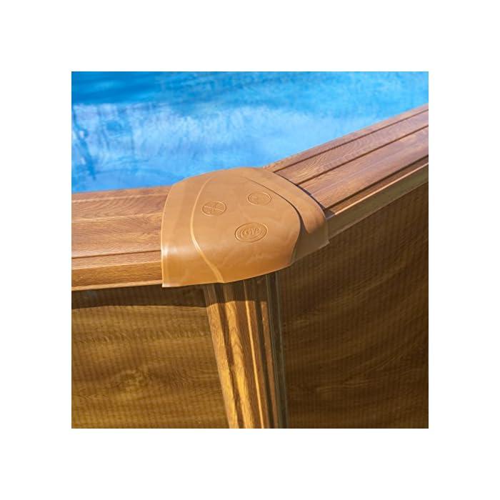 51tJfBY137L Piscina desmontable redonda de pared de acero con decoración de aspecto de madera, de 300 x 120 cm (Diámetro x Alto) Con filtro de cartucho de 3,8 m³/h Incluye escalera de seguridad con tres peldaños por cada lado