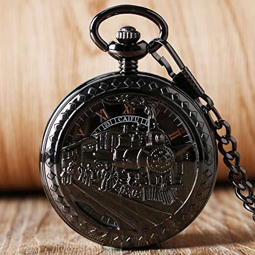 ZJZ män kvinnor svart löpning fickur mekanisk skelett handbojor antik berlock