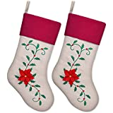 Ivenf Christmas Stockings, 2 Pack 18 Inch Large Embroidered Holly Leaves Poinsettia Stockings, for Family Holiday Xmas Party Decorations, Red/Green