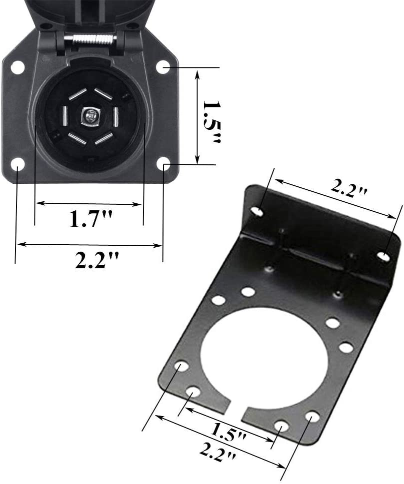 4 Flat to 7 Way Blade Trailer Adapter Electrical Connector with Mounting Bracket