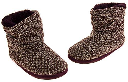 51tJffM0EZL - Coolers Womens Plum Warm Knitted Winter Fur Lined Slipper Boots 9-10 B(M) US