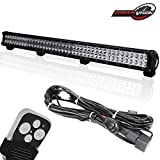 """TERRAIN VISION 39"""" Inch Offroad LED Work Light Bar Spot Flood Combo 252W for Lower Bumper Grill Insert with Remote Switch Relay Wiring Harness fit Jeep GMC Tundra Chevy Tahoe Dodge Olaris John Deere"""