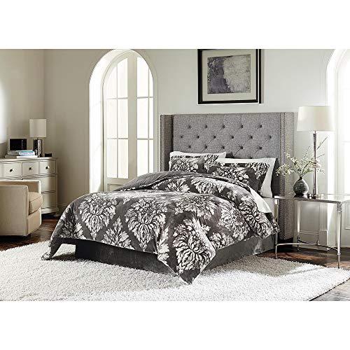 Lenox C1512050-SCQ-AST-Damask Velvet Plush Comforter Set Damask F/Q, Full/Queen, Grey