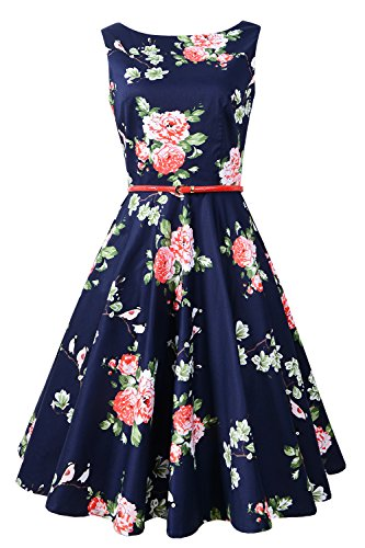 Chicanary Women's Floral 1950s Rockabilly Cotton Vintage Dress (Small, Navy Floral)
