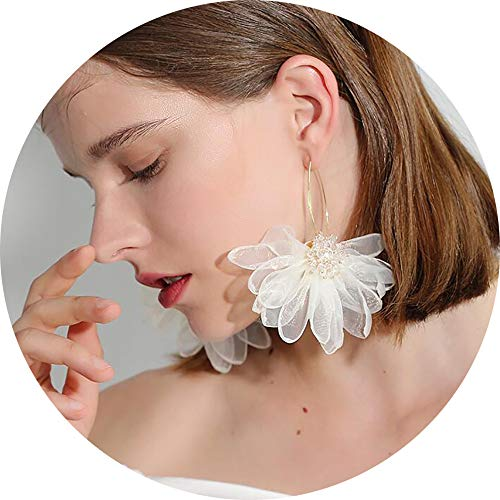 GUYUEXING Large Fabric Flower Petals Drop Dangle Earrings, Fashion Flora for Women Girls (White)