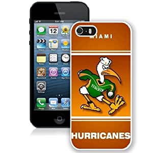 Beautiful Designed With NCAA Atlantic Coast Conference ACC Footballl Miami (FL) Hurricanes 6 Protective Cell Phone Hardshell Cover Case For iPhone 5S Phone Case White