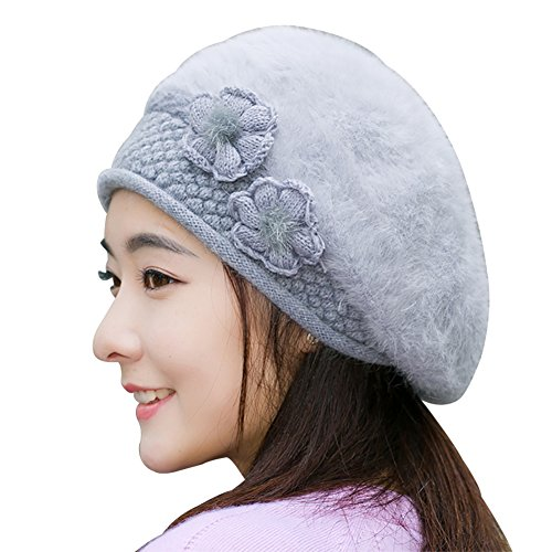 Hat Women Winter Pure Color Duck Tongue Beret Warm Rabbit Fur Knitting Cap (Grey)