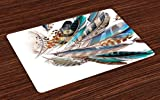 Ambesonne Feathers Place Mats Set of 4, Vaned Types and Natal Contour Flight Bird Feathers and Animal Skin Element Print, Washable Fabric Placemats for Dining Room Kitchen Table Decor, Teal Brown