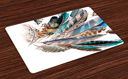 Ambesonne Feathers Place Mats Set of 4, Vaned Types and Natal Contour Flight Bird Feathers and Animal Skin Element Print, Washable Fabric Placemats for Dining Room Kitchen Table Decor, Teal Brown ()