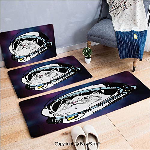 FashSam 3 Piece Non Slip Flannel Door Mat Kitten in Astronaut Hat Looks at Cosmic Rays UFO Celestial Body Theme Indoor Carpet for Bath Kitchen(W15.7xL23.6 by W19.6xL31.5 by W15.7xL39.4) ()