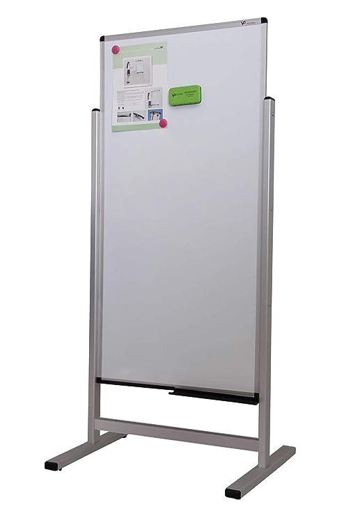 VIZ-PRO Pizarra blanca magnética de doble cara, 1200x600mm
