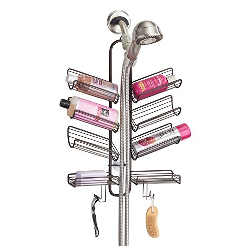 mDesign Hanging Shower Caddy with Shelves for Soap, Shampoo and Conditioner - Bronze by mDesign