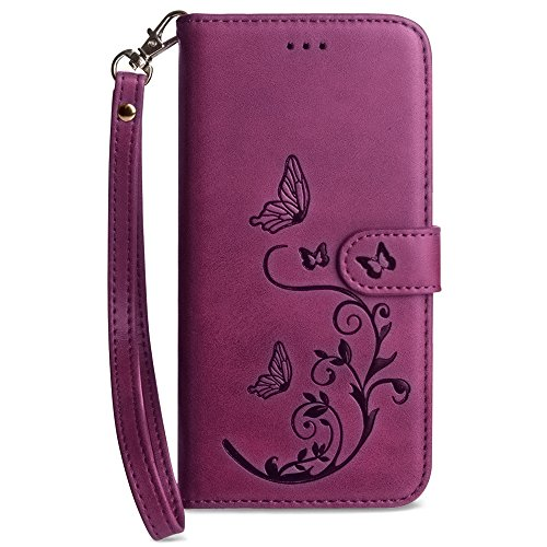 Magenta Shield Case Protector (Galaxy Note 8 Wallet Case, Slim PU Leather Embossed Design with Matching Detachable Flip Cover with Credit Card Holder Wristlet for Women by Cellular Outfitter [Butterfly 2.0 - Magenta])