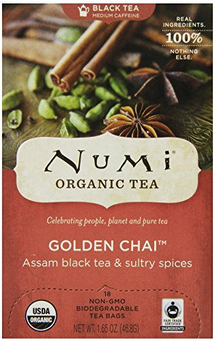 Numi Organic Tea Golden Chai, Full Leaf Black Tea in Teabags, 18-Count Box (Pack of 6)